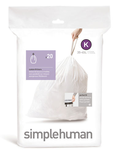 Simplehuman 20 Pack Code K Can Liner-WHITE-20