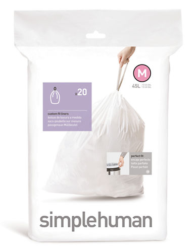 Simplehuman 20 Pack Code M Can Liner-WHITE-20
