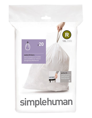 Simplehuman R 10L Custom Can Liners 20-Pack-WHITE-One Size