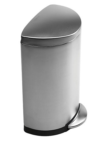 Simplehuman 6L Semi Round Can-SILVER-One Size