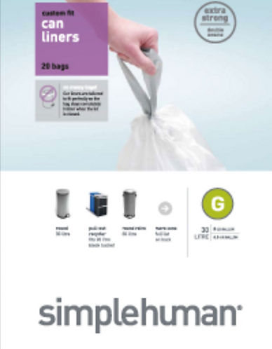 Simplehuman Wastecan Liner-CLEAR-30 Inches