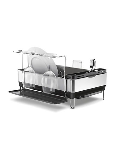 Simplehuman Dishrack with wine glass holder-STAINLESS STEEL-One Size