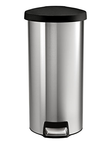 Simplehuman Round Step Waste Can-SILVER-One Size