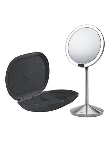 Simplehuman Silvertone Mini Sensor Mirror with Travel Case - 10x Magnification-STAINLESS-One Size