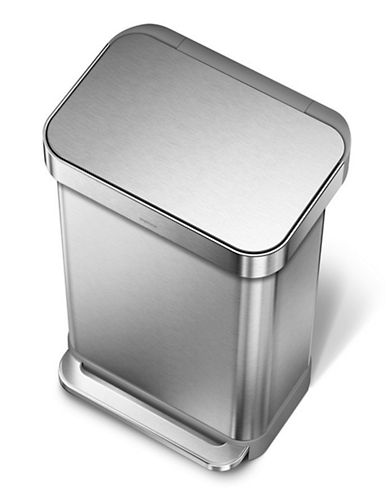 Simplehuman 45 Litre Rectangular Step Can with Liner Pocket-SILVER-45L