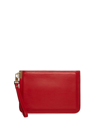 Luana Italy Alex Large Leather Wristlet-RED-One Size