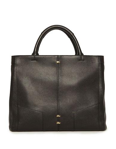 Luana Italy Federica Leather Satchel-BLACK-One Size
