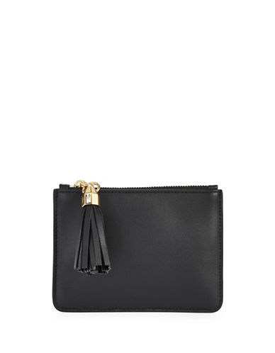Luana Italy Isabella Leather Mini Tassel Pouch-BLACK-One Size