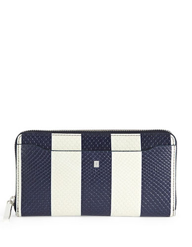 Luana Italy Milo Zip-Around Leather Wallet-BLUE-One Size