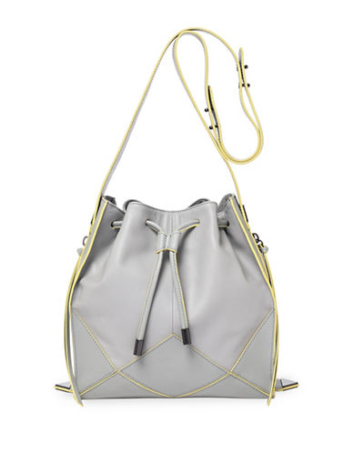 Botkier New York London Leather Drawstring Bag-GREY-One Size
