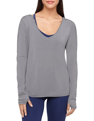 Yummie By Heather Thomson Betsey Long Sleeve Top-GREY-X-Large