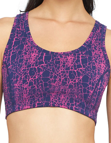 Yummie By Heather Thomson Medium Support Printed Racerback Sports Bra-PINK-Medium 88601434_PINK_Medium