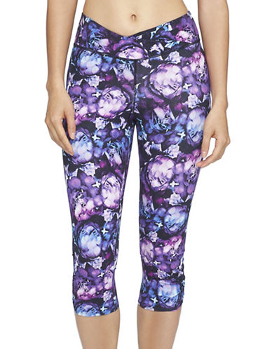Yummie By Heather Thomson Candace Printed Capri Leggings-PURPLE MULTI-Small 88601381_PURPLE MULTI_Small