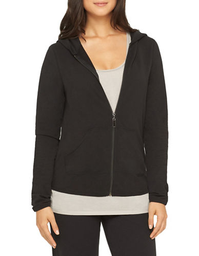 Yummie By Heather Thomson Zip-Up Cotton-Blend Hoodie-BLACK-X-Large 88437727_BLACK_X-Large