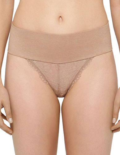 Yummie By Heather Thomson Hip-Kini Lace Panty-ALMOND-Large/X-Large