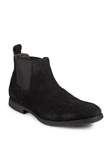 Black Brown 1826 Distressed Suede Chelsea Boots-BLACK-10.5