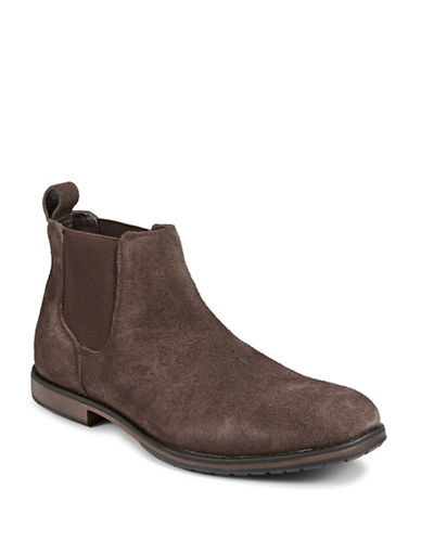 Black Brown 1826 Distressed Suede Chelsea Boots-BROWN-12