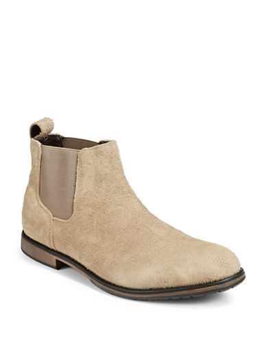 Black Brown 1826 Distressed Suede Chelsea Boots-TAN-10.5
