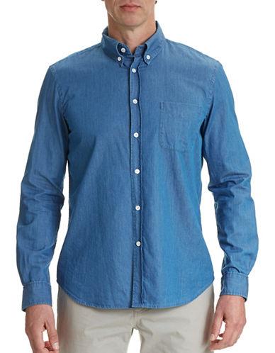 Steven Alan Collegiate Chambray Sport Shirt-BLUE-Large