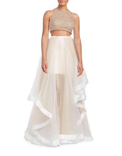 Glamour By Terani Two-Piece Ruffle Gown with Beaded Top-BEIGE-10