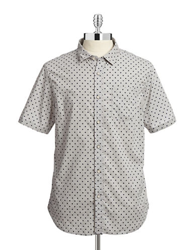 J.A.C.H.S Polka Dot Sport Shirt-WHITE/BLACK-Medium
