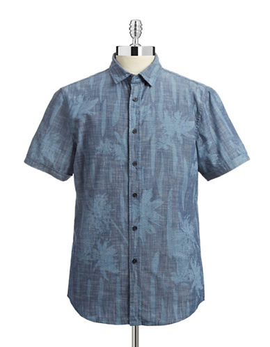J.A.C.H.S Faded Leaf Print Sport Shirt-BLUE-Medium