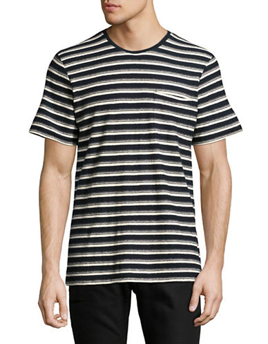Outerknown Striped Hemp & Cotton Tee-BLUE-Large