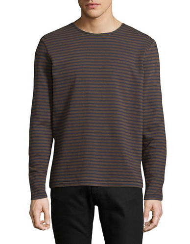 Outerknown Organic Cotton Stripe Shirt-BROWN-Large