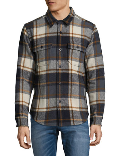 Outerknown Plaid Wool-Blend Sport Shirt-WHITE-Large