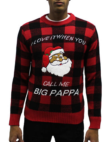 American Stitch Call me Big Poppa Plaid Sweater-RED-Small