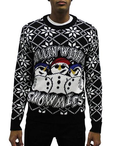 American Stitch Intarsia Snowmies Sweater-BLACK-Large