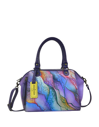 Anuschka Abstract Printed Leather Satchel-PURPLE MULTI-One Size