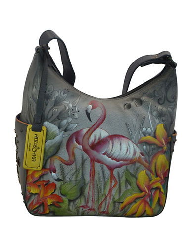 Anuschka Classic Flamingo Leather Hobo Bag-GREY MULTI-One Size