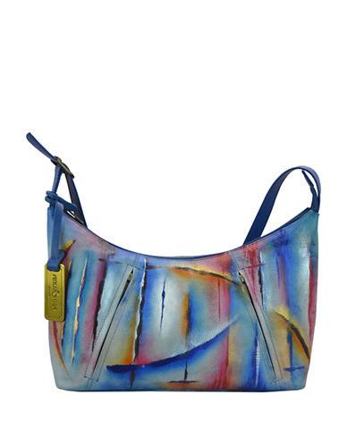 Anuschka Northern Lights Medium Zippered Leather Hobo Bag-BLUE MULTI-One Size