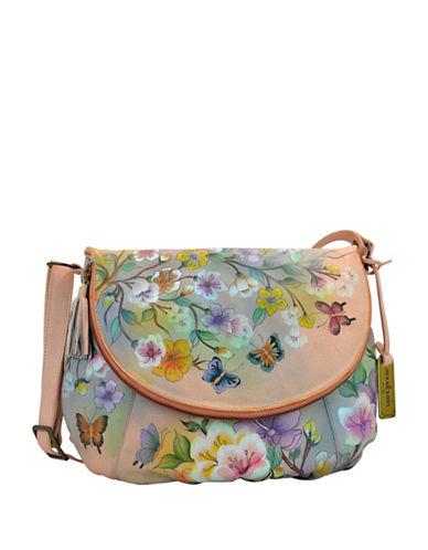 Anuschka Floral Large Flap-Over Leather Shoulder Bag-ORANGE MULTI-One Size