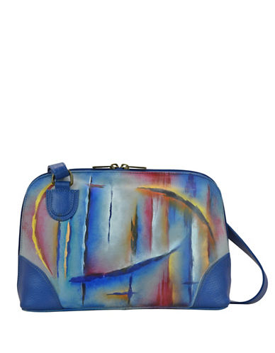 Anuschka Northern Lights Zip-Around Leather Organizer Shoulder Bag-BLUE MULTI-One Size