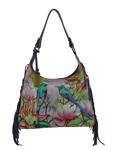 Anuschka Fringed Shoulder Leather Hobo Bag-PINK MULTI-One Size
