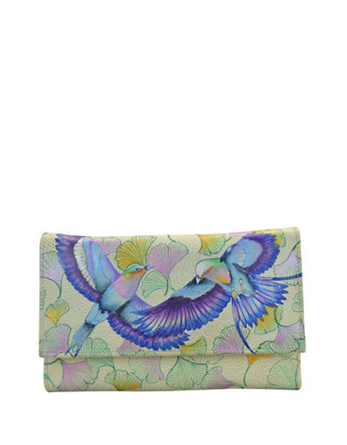 Anuschka Bird Leather Checkbook Wallet-GREEN MULTI-One Size