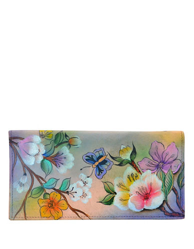Anuschka Garden Leather Checkbook Cover-PINK MULTI-One Size