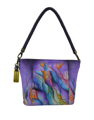 Anuschka Handpainted Hobo Leather Bag-PURPLE MULTI-One Size