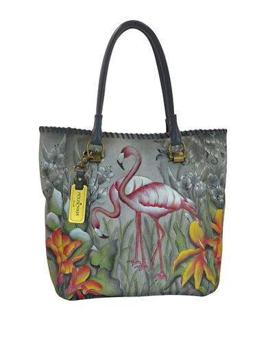 Anuschka Large Handpainted Leather Tote-GREY MULTI-One Size