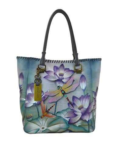 Anuschka Handpainted Leather Tote-BLUE MULTI-One Size