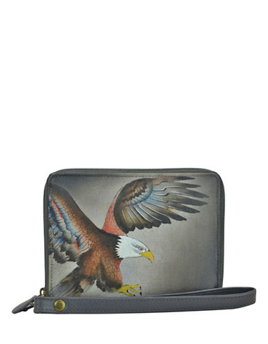 Anuschka RFID Blocking Eagle Zip-Around Leather Organiser Wallet-GREY MULTI-One Size
