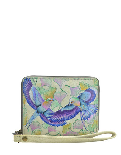 Anuschka RFID Blocking Wings of Hope Zip-Around Leather Organiser Wallet-GREEN MULTI-One Size