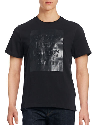 Mostly Heard Rarely Seen Faux-Leather Logo T-Shirt-BLACK-Medium 88516719_BLACK_Medium