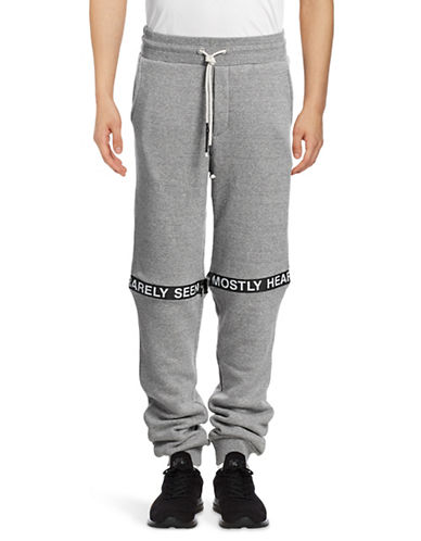 Mostly Heard Rarely Seen Ticker Feed Zip-Off Joggers-GREY-Large