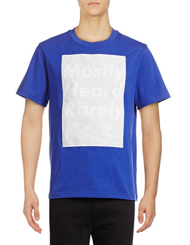 Mostly Heard Rarely Seen Namesake Window T-Shirt-BLUE-Medium