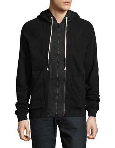 Mostly Heard Rarely Seen Zip-Up Cotton Hoodie-BLACK-Medium
