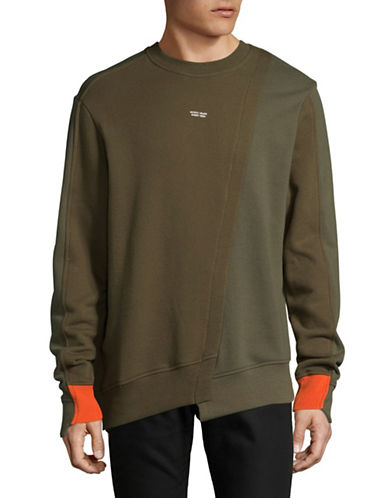 Mostly Heard Rarely Seen Mixed Colour Asymmetrical Cotton Sweatshirt-GREEN-Medium