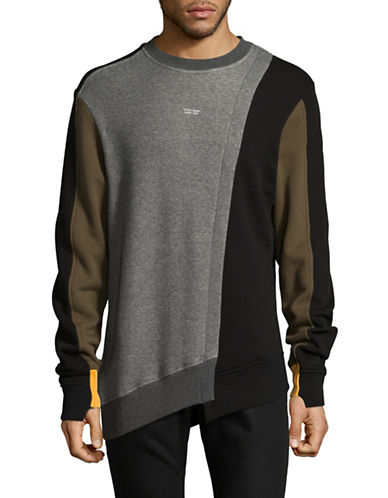 Mostly Heard Rarely Seen Colourblock Cotton Sweatshirt-GREY-Small